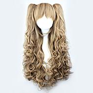 갈색 그라디언트 귀여운 더블에서 영감을 로리타 곱슬 가발이 70cm 공주를 포니 테일