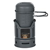 7PCS 1-2 People Camping Cookset(0.9L Pot,450L Bowl,Windshiel,Bracket,Alcohol Stove)