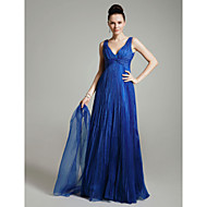 Prom/Military Ball/Formal Evening Dress - Royal Blue Plus Sizes A-line/Princess V-neck Floor-length Organza
