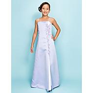 Lanting Bride® Tot de grond Satijn Junior bruidsmeisjesjurk A-lijn / Prinses Spaghettibandjes Naturel met Kralen / Split voorzijde