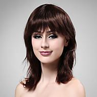 Capless Medium Long 100% Human Hair Deep Wine Hair Wig