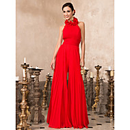 TS Couture® Prom / Formal Evening A-line Romper Plus Size / Petite High Neck Floor-length Chiffon with Draping