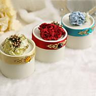 라인 스톤과 꽃이있는 원형 유리 상자 - 12의 설정 (더 색)