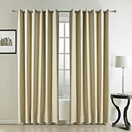Modern Two Panels Solid Beige Bedroom Polyester Panel Curtains Drapes