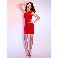Cocktail Party / Holiday Dress - Ruby Petite Sheath/Column One Shoulder Short/Mini Rayon