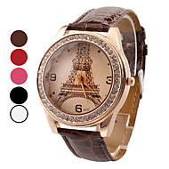Женские Модные часы Кварцевый Имитация Алмазный PU Группа Эйфелева башня Повседневная Черный Белый Красный Коричневый Роуз