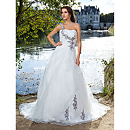 Lan Ting Ball Gown Plus Sizes Wedding Dress - Ivory Court Train One Shoulder Organza