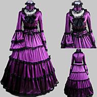Long Sleeve Floor-length Purple Satin Aristocrat Lolita Dress