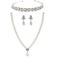 Amazing Alloy With Rhinestone / Imitation Pearls Women's Jewelry Set Including Necklace,Earrings,Tiara