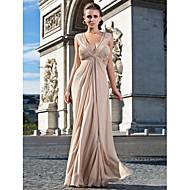 Formal Evening/Military Ball Dress Sheath/Column V-neck Floor-length Chiffon