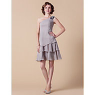 A-line Plus Sizes Mother of the Bride Dress - Silver Knee-length Sleeveless Chiffon