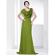 Prom/Military Ball/Formal Evening Dress - Clover Plus Sizes A-line Cowl/Spaghetti Straps Sweep/Brush Train Chiffon