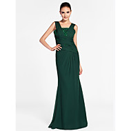 Formal Evening / Military Ball Dress - Elegant Plus Size / Petite Sheath / Column Square / Straps Floor-length Chiffon withBeading /