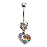 Women's Multicolor Crystal Heart Stainless Navel Ring