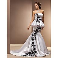 Lanting Trumpet/Mermaid Plus Sizes Wedding Dress - White Chapel Train Strapless Satin