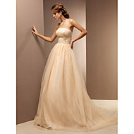 Lanting Bride® A-line Petite / Plus Sizes Wedding Dress - Classic & Timeless Wedding Dresses in Color Sweep / Brush Train Strapless Tulle