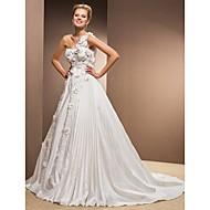Lan Ting A-line Plus Sizes Wedding Dress - Ivory Chapel Train One Shoulder Taffeta