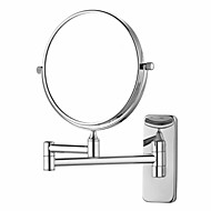 Chrome Finish 180-degree Rotating Retangle Wall Mount 360-degree Rotating Silver Cosmetic Mirror(L)
