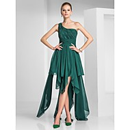 TS Couture Cocktail Party Dress - High Low A-line Princess One Shoulder Asymmetrical Chiffon with Beading Draping Ruching Side Draping