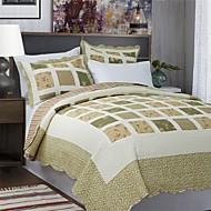 3-delt green plaid patchwork bomuld dronning quilt sæt