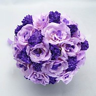 """Wedding Flowers Round Roses Bouquets Wedding Party/ Evening Satin Cotton Purple 9.84""""(Approx.25cm)"""