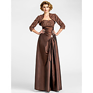 Lanting A-line Plus Sizes / Petite Mother of the Bride Dress - Chocolate Floor-length 3/4 Length Sleeve Taffeta / Lace