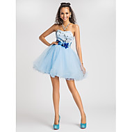 Homecoming Cocktail Party/Homecoming/Prom/Sweet 16 Dress - Sky Blue Plus Sizes Princess/Ball Gown/A-line Sweetheart/Strapless Short/Mini Satin
