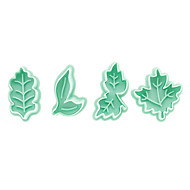 Leaf Pattern Cake and Cookie Cutter Mold with Plunger (4 Pieces)