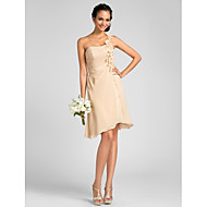 Knee-length Chiffon Bridesmaid Dress - Ruby / Royal Blue / Champagne / Regency Plus Sizes / Petite Sheath/Column One Shoulder
