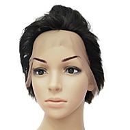 Full Front 100% ægte menneskehår brunt langt bølget hår Paryk