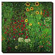 Farm Garden with Sunflowers by Gustav Klimt Famous Stretched Canvas Print