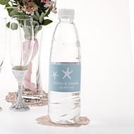 Gepersonaliseerde fles water sticker - Zeester (Blauw / set van 15)