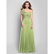 Formal Evening/Prom/Military Ball Dress - Sage Plus Sizes A-line One Shoulder Floor-length Chiffon