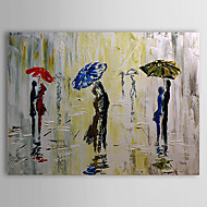 Hand Painted Oil Painting People Rain Pedestrian Embrace in the Rain with Stretched Frame 1307-PE0277