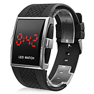 Red LED Silicone Band Wrist Watch - Black
