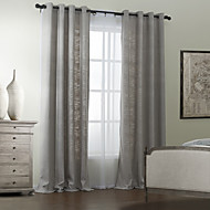 TWOPAGES® Two Panels  Polyester Cotton Blend Solid Modern Curtain Set