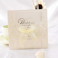 Rose Design Folded Wedding Invitation With Ribbon Bowknot (Set of 50)