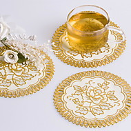 Pretty Round Gold Blocking PVC Coaster Favors (Set of 6 Pieces)