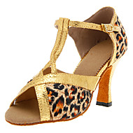 Customizable Women's Dance Shoes Latin/Ballroom Satin Customized Heel Leopard