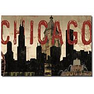 Tryckt Konst på kanvas Landskap Chicago Skyline I av Sparx Studio med Sträckt Frame