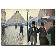 Printed Canvas Art Vintage Caillebotte, Paris Street, A Rainy Day by Vintage Apple Collection with Stretched Frame