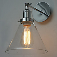60W Art-Deco Wall Light with Glass Cone Shade Down