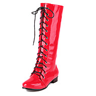 Women's Shoes Patent Leather Spring / Fall Fashion Boots Casual / Dress Flat Heel Lace-up Black / Blue / Pink / Red / White