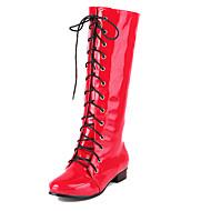 Damenschuhe - Stiefel - Lässig / Kleid - Lackleder - Flacher Absatz - Modische Stiefel - Schwarz / Blau / Rosa / Rot / Weiß