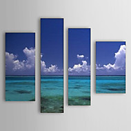 Hand Painted Oil Painting Landscape Sea and Sky Set of 4 with Stretched Frame 1307-LS0108