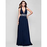 TS Couture® Prom / Formal Evening / Military Ball Dress - Open Back Plus Size / Petite Sheath / Column Halter / V-neck Floor-length Chiffon