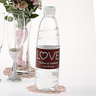 Garrafa de água personalizada Etiqueta - Love (azul Brown / conjunto de 15)