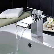 Contemporaneo Installazione centrale Cascata with  Valvola in ceramica Una manopola Un foro for  Cromo , Lavandino rubinetto del bagno