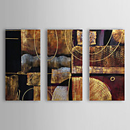 Oil Painting Abstract with Stretched Frame Set of 3 1307-AB0434 Hand-Painted Canvas