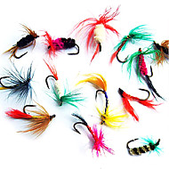 12 pcs Flies / Lure kits / Fishing Lures Flies / Lure Packs Black / Brown / Green / Yellow / Blue / Assorted Colors / Red g/<1/18 oz.